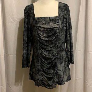 Dressbarn Blouse, Size L, Charcoal Gray & velvet